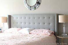Linen Grey Upholstered Bed