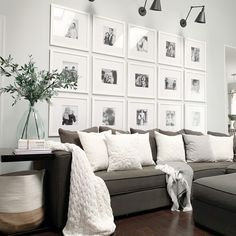 How to Create a Flawless Photo Gallery Wall in 5 Easy Steps Living Room Designs, Living Room Decor, Gallery Wall Living Room Couch, Living Room Wall Decor Ideas Above Couch, Picture Wall Living Room, Family Wall Decor, Style At Home, Cheap Home Decor, Family Room