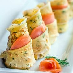 Dill Crepes with Smoked Salmon Recipe Appetizers with fresh dill, large eggs, sugar, salt, whole milk, all-purpose flour, baking powder, vegetable oil, sour cream, mayonnaise, ground black pepper, smoked salmon