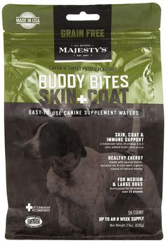 Majesty's Buddy Bites Skin and Coat Grain Free supplement for Medium/Large Dogs - 56 count bag >>> Quickly view this special dog product, click the image : Dog coats Pet Supplements, Dog Itching, Dog Training Pads, Dog Dental Care, Animal Nutrition, Dog Food Storage, Dog Eyes, Dog Feeding, Dog Hoodie