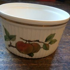 WAS 6 Royal Worcester Fine Porcelain Oven To Table Ware 1960s Vintage Dish,  Large Ramekin. Evesham Design.Apple And Blackberry Pie Dish