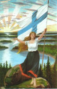 Maiden of Finland (Finnish: Suomi-neito, Swedish: Finlands mö) is the national personification of Finland. Meanwhile In Finland, Propaganda Techniques, Finnish Sauna, Finnish Words, Malm, Vintage Posters, Denmark, Auras, Norway