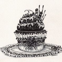 Chocolate Cupcake Drawing - Original Pen and Ink Artwork By Madeleine Bellwoar