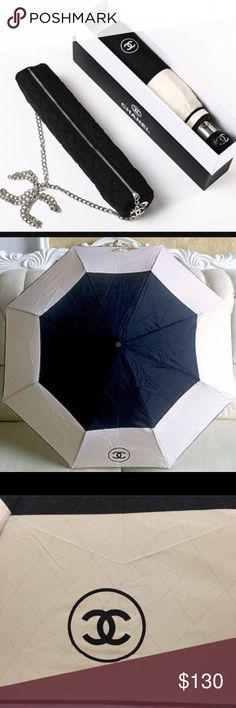 Chanel Umbrella New authentic VIP gift Chanel umbrella. This umbrella comes with the sleeve, quilted crossbody bag, and box. CHANEL Accessories Umbrellas