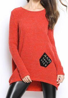 Orange Patchwork Pockets Irregular Round Neck Pullover Sweater