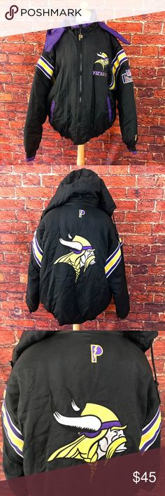Minnesota Vikings NFL Pro Player Puffer Jacket Very comfortable and very warm Minnesota Vikings puffer jacket. In pretty good shape, doesn't really show much where, just a little bit of aging. Normal usage. The hood can zip on and off. Size large. Pro Player Jackets & Coats Puffers