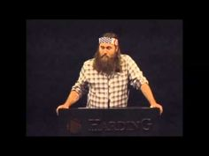 Related blog post: http://outoftheoverflow.com/2012/11/28/video-willie-robertson-of-aes-duckdynasty-at-harding-university/    Former Harding University student Willie Robertson - famous owner of Duck Commander and star of Duck Dynasty - speaks to students about his faith in Harding University chapel.    Scripture Willie references (Galatians 5.19-21...