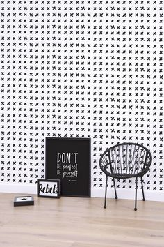 Black Crosses Wallpaper.  Available from www.silkinteirors.com.au #wallpaper #wallpaperforwalls #kidswallpaper #blackandwhite