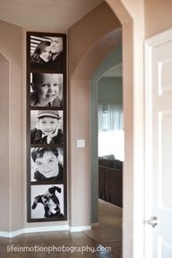 pictures stacked vertically at end of hallway to look like photobooth picture strip