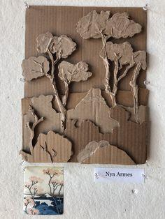 Cardboard Sculpture, Cardboard Crafts, Paper Crafts, Cardboard Relief, 6th Grade Art, School Art Projects, Middle School Art, Recycled Art, Art Plastique