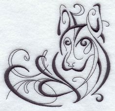 An inky calligraphic corner design of a dog.