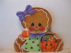 HP Gingerbread  candy ginger Shelf Sitter hand painted USA