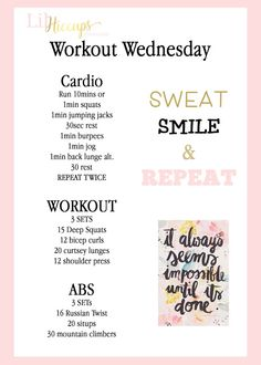 Welcome to Workout Wednesday! I mean lets be real we all could use the motivation because really its hard to work out EVERY DAY. Deep Squat, Wednesday Workout, Mommy Workout, Bikini Bodies, Biceps, Glutes, Squats, Cardio, Abs