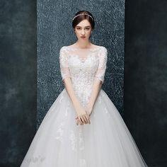 新作袖付き背中開きのトレーン豪華ウェディングドレス 花嫁ドレス 11999531 - 2016 ウェディングドレス - Doresuwe.Com