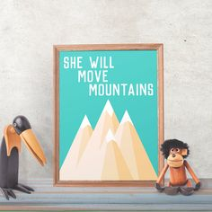 She Will Move Mountains - Nursery Art - Printable Wall Art - 8 x 10 - Digital Art - Girls Wall Decor - Wall Art - Instant Download - PDF by DisfrutesPrints on Etsy