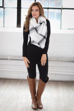 Always Timeless Plaid Blanket Scarf - Black