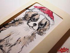 Weihnachtskarten mal anders: Einzelstücke handgemalt Weihnachtskarte Cavalier - ein Designerstück von wandklex bei DaWanda Postkarte mal anders;  handgemalte Karten - geht übrigens auch nach Ihrem Foto :-) Alles zu haben im kleinen Klexshop auf DaWanda unter http://de.dawanda.com/shop/wandklex (einzeln handgemalte Karten, ;-) )  Jede Karte ein Unikat, alle Tierrassen und auch Personen möglich, auch Kleinserien.