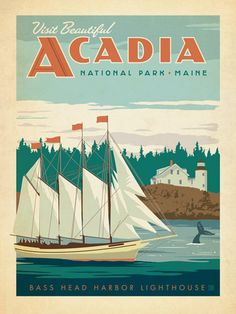 Acadia National Park - Anderson Design Group has created an award-winning series of classic travel posters that celebrates the history and charm of America's greatest cities and national parks. Founder Joel Anderson directs a team of talented Nashville-based artists to keep the collection growing. This print celebrates the rugged coastal beauty of Acadia National Park.<br />
