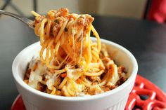 Baked Spaghetti Casserole with Andouille Sausage by creolecontessa: Just yum! #Casserole #Spaghetti #Sausage