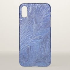 Elegant Frosted Blue Leaves Pattern iPhone X Case - pattern sample design template diy cyo customize