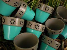 Painted Flower Pots - Aqua and Gray - Small Flower Pots - Set of 10 Painted Flower Pots - Aqua and Gray - Small Flower Pots - Set of 10 Painted Clay Pots, Painted Flower Pots, Hand Painted Ceramics, Flower Pot Crafts, Clay Pot Crafts, Small Flower Pots, Mosaic Pots, Terracotta Pots, Plant Decor
