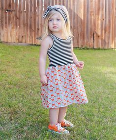 Loving this Gray Stripe & Orange Foxes Dress - Infant, Toddler & Girls on #zulily! #zulilyfinds