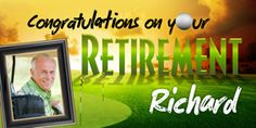Golfing, Golf, Hole in one, Golf Saying! Customized Banner for Richard's birthday on the golf course! Happy Retirement Banner, Retirement Parties, Personalized Banners, Custom Banners, Golf Quotes, Hole In One, Envy, Congratulations, Ads