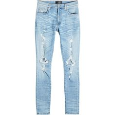 Amiri Distressed Skinny Jeans ($839) ❤ liked on Polyvore featuring jeans, black, mens destroyed jeans, mens ripped skinny jeans, mens distressed skinny jeans, mens distressed jeans and mens torn jeans
