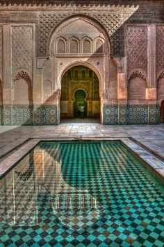 "Marrakech courtyard pools: ""Medersa (Ali) Ben Youssef"" (Islamic school) • photo Ruggero Poggianella 2012-07 (via flickr 7492915606)"