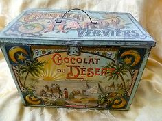 Antique c.1900 CHOCOLATE LITHO TIN BOX Chocolat du Desert HARDY Verviers Belgium