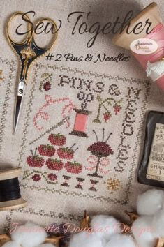 Jeannette Douglas Sew Together Pins & Needles - Cross Stitch Pattern. Model stitched over 2 threads on 40 Ct. Just Cross Stitch, Cross Stitch Finishing, Cross Stitch Needles, Cross Stitch Samplers, Cross Stitching, Cross Stitch Embroidery, Cross Stitch Designs, Cross Stitch Patterns, Needle Cushion