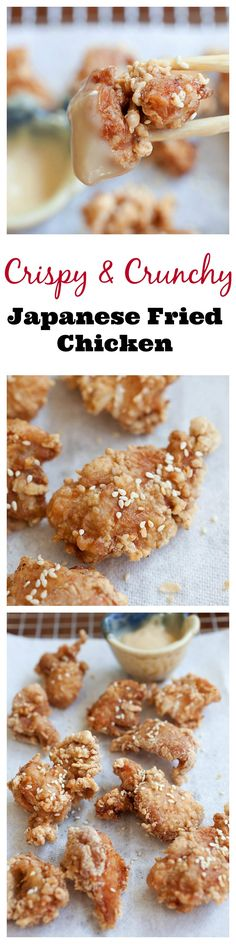 Crispy and Crunchy Japanese fried chicken recipe with mayo miso dipping sauce just like your favorite Japanese restaurants Cycling Diet, Carb Cycling, Japanese Fried Chicken, Asian Chicken, Sesame Chicken, Crispy Chicken, Rasa Malaysia, Japanese Diet, Japanese Meals