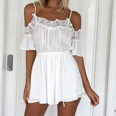 Simplee Casual white lace off shoulder jumpsuit romper Summer beach flare sleeve playsuit Women sexy slim soft chiffon overalls Adrette Outfits, Preppy Outfits, Fashion Outfits, Beach Outfits, Cute Dresses, Short Dresses, Summer Dresses, Lingerie Chic, Classy Summer Outfits