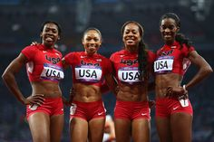 Women's 4-by-400-meter relay wins gold. Allyson Felix' third gold at London.