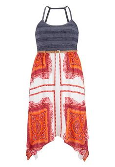 bandana print plus size dress with hanky hem (original price, $54) available at #Maurices
