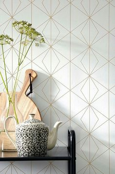 6 Wallpaper Trends That Are Shaping 2017 - From classic to bold wallpaper is still going strong, and we are sharing 6 wallpaper trends that ar - Bold Wallpaper, Wallpaper Decor, Bathroom Wallpaper, Gold Accent Wallpaper, Geometric Kitchen Wallpaper, Wallpaper Ideas, Bedroom Wallpaper Trends, Kitchen Wallpaper Accent Wall, White Pattern Wallpaper