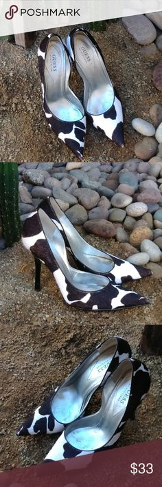 """Guess cowhide pumps Yeehaw... Time to cowgirl up. These gorgeous cowhide pumps are a showstopper.  You will have people stopping you to tell you how cool your shoes are.  4.5"""" heel. A bit if wear on the points,  nothing a little sharpie can't fix.  Ask questions, bundle your likes,  LETS make a deal. Shoes Heels"""