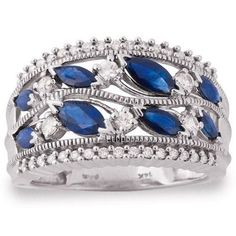 Blue Sapphire and Diamond Ring in White Gold, Riddles