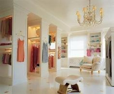 I would love to have a wardrobe room like this.