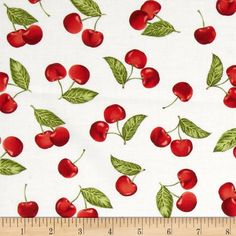 Kaufman Kiss the Cook Cherries White from @fabricdotcom  Designed by Mary Lake-Thompson for Robert Kaufman, this cotton print fabric is perfect for quilting, apparel and home decor accents. Colors include shades of red, white, and green.