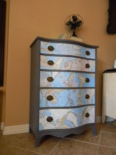 {Geography Chest} Map Decoupage | Altar'd: Custom Hand Painted & Refinished Furniture and Vintage Home Décor