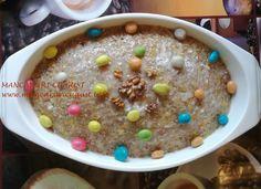 Coliva din arpacas cu nuca si drajeuri Cereal, Pudding, Breakfast, Desserts, Food, Morning Coffee, Tailgate Desserts, Deserts, Custard Pudding