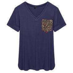 Women Casual V-Neck Short Sleeve Leopard Pocket T-Shirt Blouse