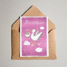 Cartes de voeux dessinées, mises en page et imprimées en Alsace. #carte #cartedevoeux #felicitations #naissance #rose #cigogne #bébé #baby #papeterie #aquarelle #alsace #juliebellule