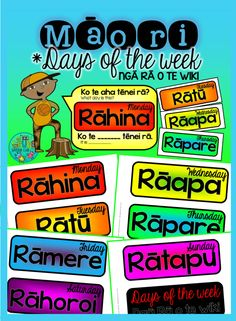 Jazz up the date at the top of your whiteboard with these interchangeable Māori days of the week - simply cut out and laminate before letting your students change the day cards for you! Ngā rā o te wiki (days of the week)