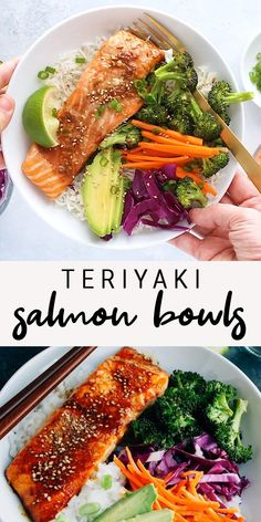 This teriyaki salmon dish comes together quickly for a healthy and delicious weeknight meal. Bake the salmon and broccoli together, then serve in a bowl with rice, veggies and creamy avocado. This east sheet pan dinner doubles as an easy meal prep recipe too!  #salmon #teriyaki #sheetpandinner #bowl #rice #broccoli #mealprep #weeknightdinner #eatingbirdfood #avocado Healthy Meal Prep, Easy Healthy Dinners, Easy Healthy Recipes, Healthy Eating, Clean Dinners, Healthy Delicious Meals, Healthy Quick Recipes, Super Food Recipes, Healthy Meals For Dinner