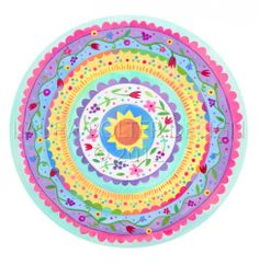 Flower Mandala Painting, acrylics on watercolor paper by Laura Bolter http://www.laurabolterdesign.com/archives/2626