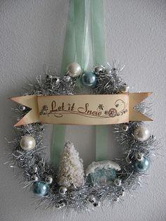 Snowy tinsel wreath