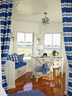 coastal style home office. Looks like painted knotty pine walls? Coastal Style, Coastal Living, Coastal Decor, Coastal Cottage, Lakeside Cottage, Home Office, Beach Office, Nautical Office, Nautical Stripes