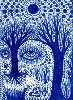 #tree #drawing #pen #penandink #trippy #cool #intriguing #eyes